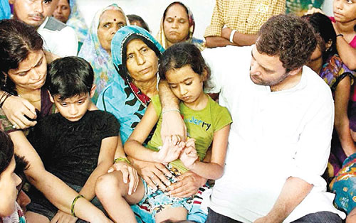 Congress Vice President Rahul Gandhi meets martyr's family