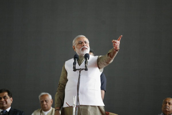 Narendra Modi, chief minister of India's western state of Gujarat, speaks during the inauguration ceremony of a gem and jewellery exhibition at Surat in Gujarat